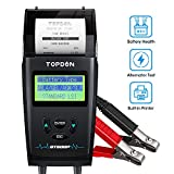 Car Battery Tester with Printer 12V 24V Load Tester, TOPDON BT500P Automotive Alternator Tester Auto Digital Analyzer Tool Charging Cranking System Tester for Car Truck Motorcycle ATV SUV Boat Yacht