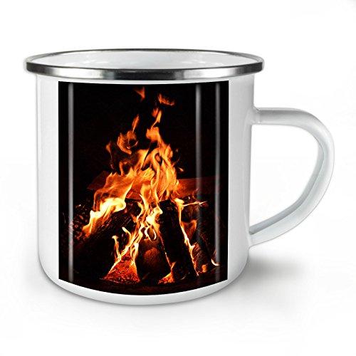 Wellcoda Kamin Feuer Natur Emaille-Becher, Gemütlich - 10 Unzen-Tasse - Kräftiger, griffiger Griff, Zweiseitiger Druck, Ideal für Camping und Outdoor