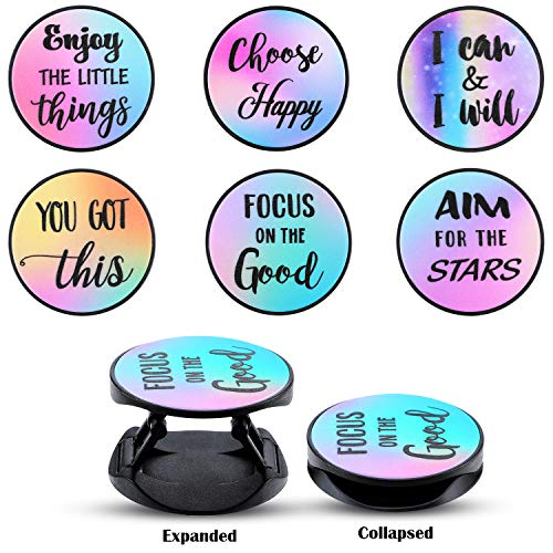 6 Pieces Foldable Expanding Stand Holder Inspirational Quote Phone Grip Socket Holder Finger Stand Holder Kickstand Grip for Smartphone and Tablets