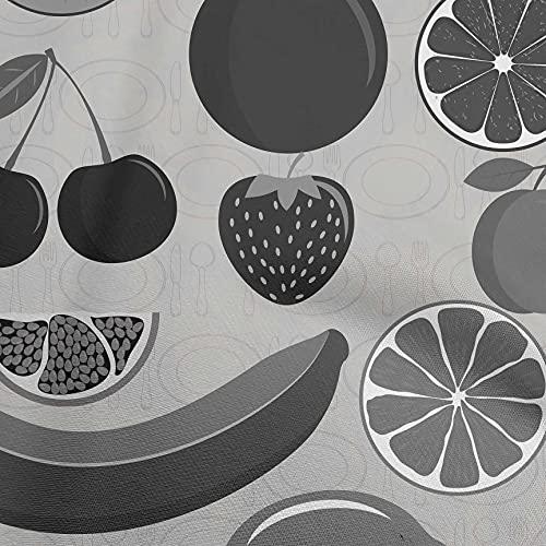 oneOone Algodón De Seda Gris Claro Tela Frutas Cosiendo Tela De La Impresión De Material Por Metros 42 Pulgada De Ancho