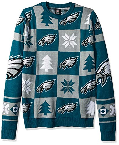NFL PHILADELPHIA EAGLES PATCHES Ugly Sweater, Large