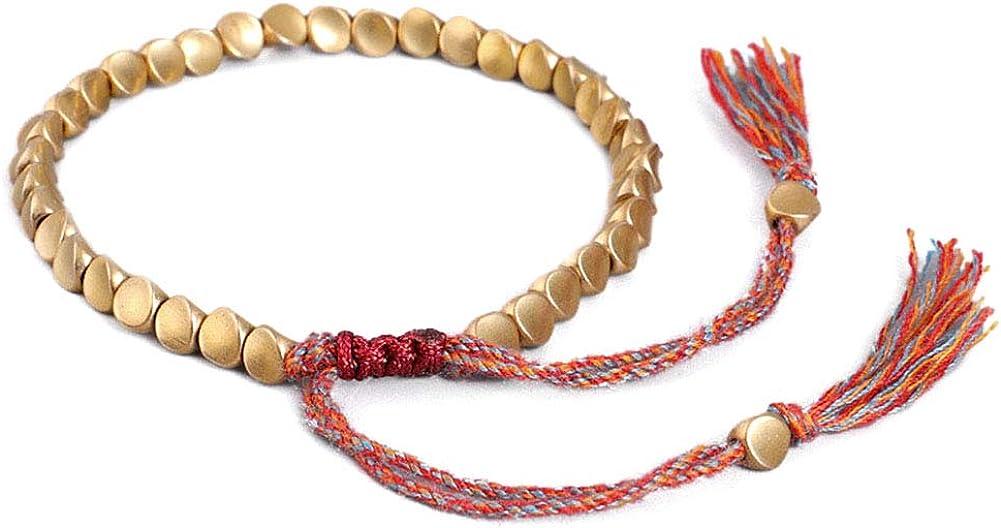 FDGT Copper Bead Bracelet Handmade Tibetan Buddhist Braided Cotton Copper Beads Lucky Rope Bracelet Unisex Surprise Toys for Girls Boys Women Men Kids Best Gift for Birthday Day Mother's Day