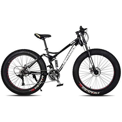 XRQ Fat Tire Mens per Mountain Bike, Carbonio 24' 26' Sospensione Completa Mountain Bike Trail Bike 24 velocità Freni a Disco Doppio MTB Bike-Alta Resistenza Telaio in Acciaio,Nero,24IN