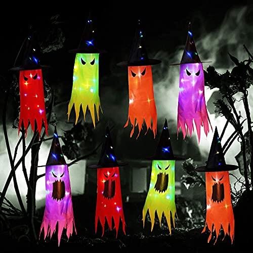 Walant Lot de 8 chapeaux de sorcière pour Halloween - Avec guirlande lumineuse - Pour arbre de Noël, extérieur, yard, jardin