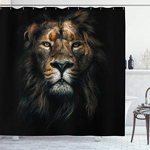 AMBZEK Duschvorhang mit Löwen-Motiv, leistungsstark, Vintage-Stil, Majestätischer Königskopf, Tier, Safari, cooles Kunstwerk, Stoff, Badezimmer-Dekor-Set mit 12 Haken, 152,4 x 180,3 cm, Schwarz