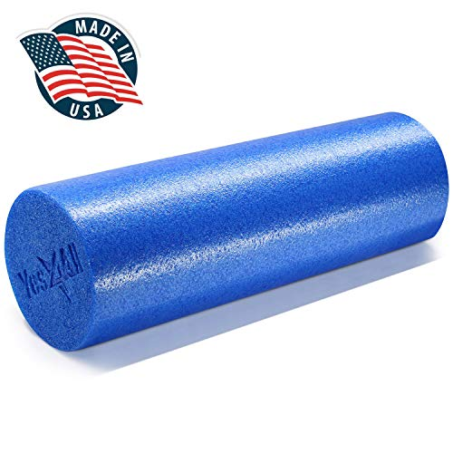 Yes4All Premium Medium Density Round PE Foam Roller for Physical Therapy - 18inch (Blue) (KPQM)