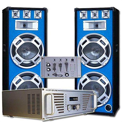 DJ Komplett-Set Bouncer Verstärker mit 2000W Boxen & Mixer(inkl. Kopfkörer & Kabelset, musiksensitiver LED-Lichteffekt, für zu bis 500 Personen)