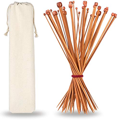H&S Knitting Needles Set of 36 Pcs Single Pointed Bamboo 2.0mm 2.25mm 2.5mm...