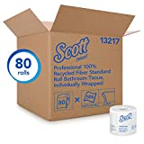 Scott Essential Professional 100% Recycled Fiber Bulk Toilet Paper for Business (13217), 2-PLY Standard Rolls, White, 80 Rolls / Case, 506 Sheets / Roll