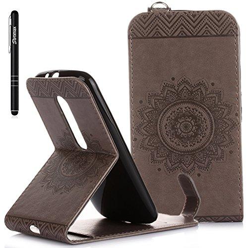 Slynmax Mandala Flip Tasche Slynmax Hülle Kompatibel mit Motorola Moto G 3. Generation 5 Zoll Hülle Weich Kunstleder Fordable Ledertasche Brieftasche Lederhülle Slim Handyhülle Klapphülle Stand,Grau