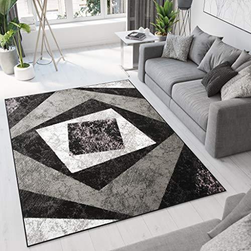 Tapiso Dream Teppich Modern Wohnzimmer Kurzflor Schwarz Grau Creme Vierecke Geometrisch Meliert Schlafzimmer Esszimmer ÖKOTEX 140 x 200 cm