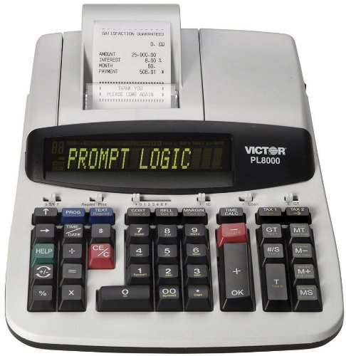 Victor Technology PL8000 Thermal Printing Calculator, Prompt Logic, Help Key, 8.0 Lines Per Second