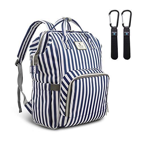 Hafmall Baby Wickeltasche Rucksack mit Kinderwagen Haken Multifunktional Reise Wickelrucksack Große Kapazität Babytasche (Blau-Weiße-Streifen)