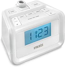Dual Alarm Digital FM Clock Radio, Time Projection, 8 Relaxing Nature Sounds, LED Display, Multi-Alarm, Snooze, Sleep Timer, Nightlight, Ceiling Clock, SoundSpa HoMedics