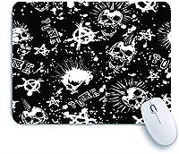 ECOMAOMI 可愛いマウスパッド モヒカン刈りと黒の背景にシンボルアナーキーと抽象的な白いパンクスカル 滑り止めゴムバッキングマウスパッドノートブックコンピュータマウスマット