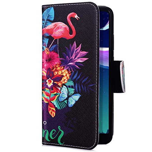 Uposao Kompatibel mit Handyhülle iPhone XS Max Handytasche Retro Muster Leder Flip Case Cover Tasche Ledertasche Lederhülle Bookstyle Klapphülle mit Kartenfach Magnetverschluss,Flamingo Baum