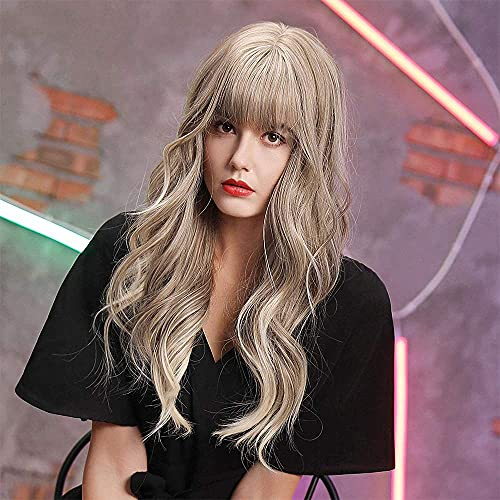 Ombre Ash Blonde Wig with Bangs 24inches,Long Wavy Synthetic Hair Wigs for Women Cosplay Daily Use, Nice Texture, Glueless