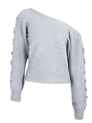Simplee Women's Casual Loose Sexy Off Shoulder Lace Up Knitted Pullover Sweater,Gray,US 0-10