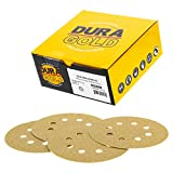 Dura-Gold Premium - 80 Grit - 5' Gold Sanding Discs - 8-Hole Dustless Hook and Loop for Random Orbit DA Sander - Box of 50 Finishing Sandpaper Discs for Woodworking or Automotive
