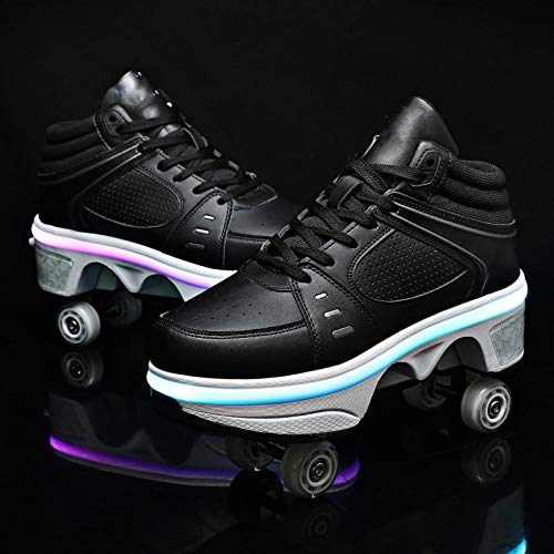 XRDSHY Zapatos con Ruedas Zapatos De Deformación Multifuncionales con Luz LED Patines Retráctiles para Mujeres, Hombres, Niños, Niñas,Black High Top-EU33