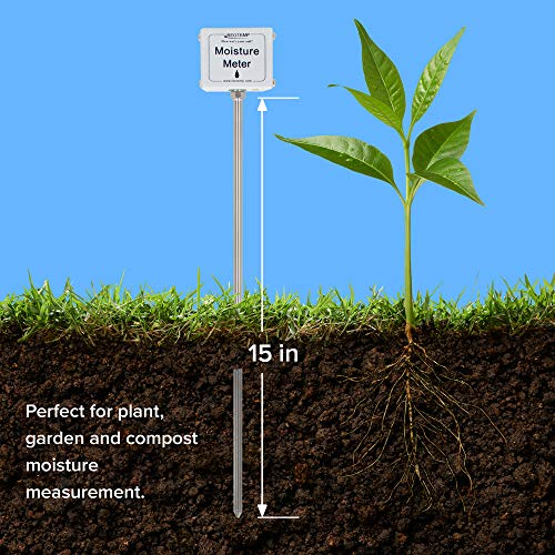 REOTEMP Garden and Compost Moisture Meter (15 Inch Stem), Garden Tool Ideal for Soil, Plant, Farm and Lawn Moisture Testing