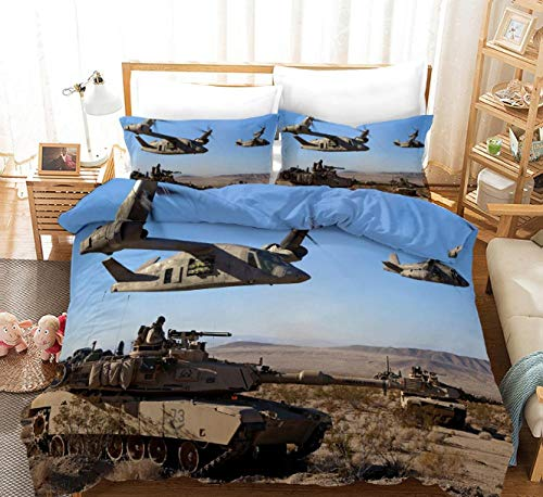 GSYHZL Queen Size Duvet Cover Set,3d printing tank pattern king bed bedding set, boys' bedroom duvet cover and pillowcase-O_200*230cm(3pcs)