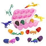 Top Right Toys Dinosaur Hatching Eggs 8 Toy Filled Dinosaur Hard Egg Shells in Black, Green, White, Yellow, Blue, Red, Purple, & Orange with Plastic Carton, Fold Back into Shells and Re-Hatch