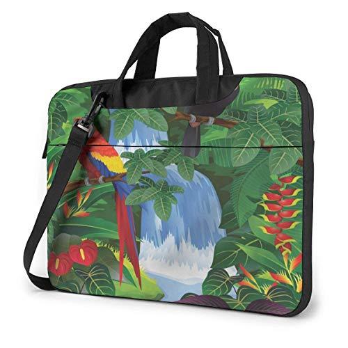 Ara und Tukan Hocken von amerikanischen Regenwäldern Gedruckte tragbare Laptop-Umhängetasche Laptop-Hülle Business Aktentasche