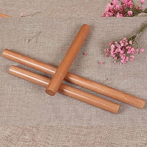 PPuujia Herramientas de cocina de madera natural maciza para fondant pastel decoración rodillo de masa accesorios de cocina rodillo rodillo portátil (color: 30 x 2,6 cm)