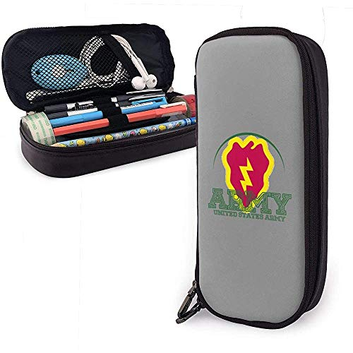 US Army 25th Infantry Division Pen Case Big Capacity Pencil Bag Makeup Pouch Durable Students Stationery with Double Zipper