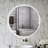 Dilian Espejo de baño con luz led y desempañador,Espejo de cosmético Redondo de Pared,Espejo de vanidad retroiluminado sin...