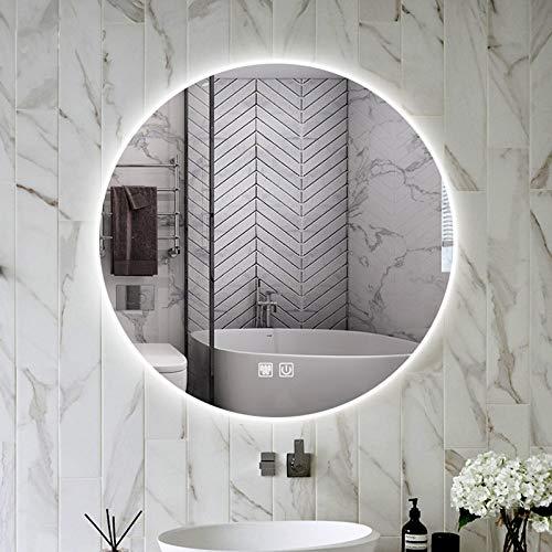 Dilian Espejo de baño con luz led y desempañador,Espejo de cosmético Redondo de Pared,Espejo de vanidad retroiluminado sin Marco,sin Cobre,Afeitado,Blanca/cálida,White Light+defogging,80cm