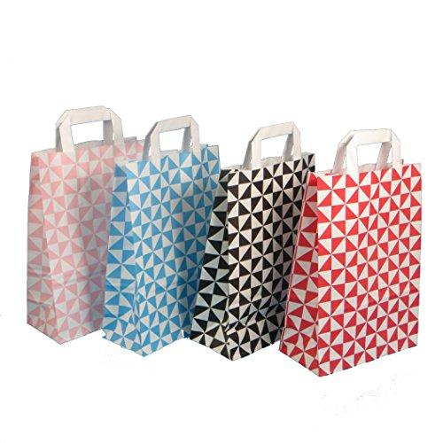 250 Papiertragetaschen Papiertüten Geschenktüten Tragetaschen aus Papier 18+8x22cm weiß modern bedruckt mit Neutralmotiv