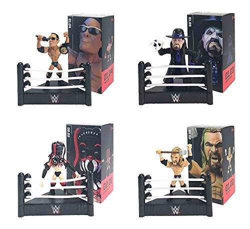 Loot Crate WWE Slam Stars - Figura da collezione esclusiva e accessori, 4 pezzi – Undertaker, The Rock, Triple H & Finn Balor