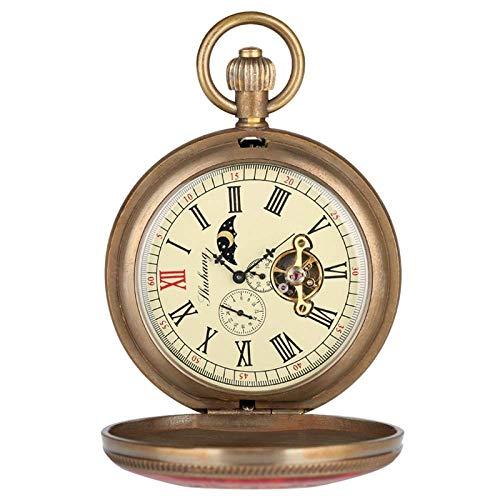 Reloj de Bolsillo, Cobre Puro Cubierta roja y Azul Retro Tourbillon Grande Reloj de Bolsillo mecánico Moda Retro Fob Cuerda Manual Reloj de Bolsillo Doble Hunter Reloj de Bolsillo Hermoso práctico