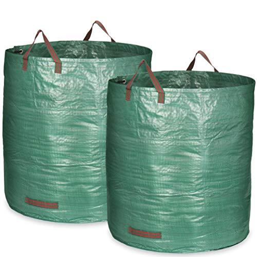 com-four® 2X Gartensack mit Tragegriffen - Faltbarer Gartenabfallsack XXL - Reißfeste Falttonne für Laub und Grünschnitt (500 l - 2 Stück)