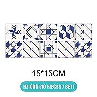 10個/セット3Dビジュアルアート幾何学的タイルデカールの寝室リビングルームバスルームの壁UD88 (Color : HZ 003 15X15)