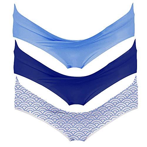 Intimate Portal Mujer Algodón Bajo el Vientre de Braguitas de Bikini Premamá Azul Azul Olas (PK de 3) L