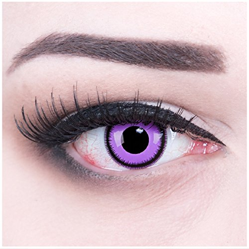 Farbige rosa Crazy Fun Kontaktlinsen Purple Lunatic mit gratis Linsenbehälter + 60ml Pflegemittel, Topqualität zu Fasching, Karneval und Halloween