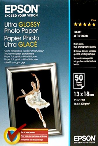Epson C13S041944 - Papel fotográfico, 13 x 18 cm, 50 unidades, color blanco