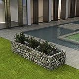 UnfadeMemory Jardinera Exterior,Gaviones de Piedra,Muro de Gaviones,Decorativos para Jardin Patio,Acero Galvanizado,Plateado (270x90x50cm)