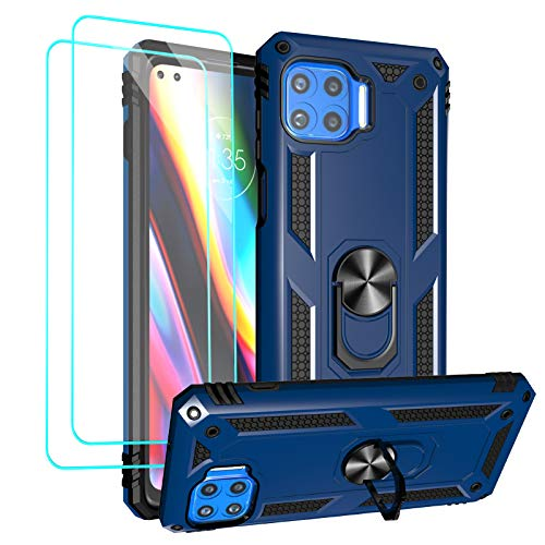 Moto One 5G Case, Motorola One 5G UW Case, with Tempered Glass Screen Protectors, Androgate Military-Grade Metal Ring Kickstand 15ft Drop Tested Shockproof Cover Case Blue