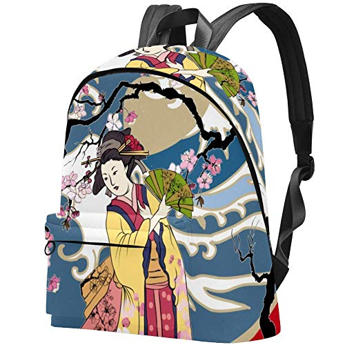 Ola Japonesa en Kimono con Flor de Cerezo Bolso Adolescentes Mochila Escolar Mochilas livianas Mochila de Viaje Mochilas diarias