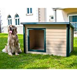 Dog House Outdoor for XL Large & Medium Dogs Lodge Style Pet Puppy Outside Shelter Insulated All Weather Doghouse (X-Large)