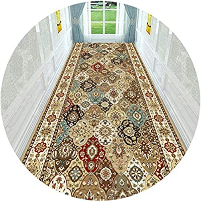 PPCP Hallway Runner Rug Long Runner Rugs Corridor Carpet European Style Geometric Floral Pattern Floral Pattern Commercial Hotel Full Corridor Hall Stairs (Color : A, Size : 55.1x39.5in)