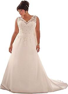 615d246af92a6 WeddingDazzle Wedding Dress Applique with Beading Long Bridal Dress for  Women's