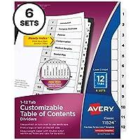 Avery 12タブディバイダー 3リングバインダー用 カスタマイズ可能な目次 クラシックホワイトタブ 6セット (11824)