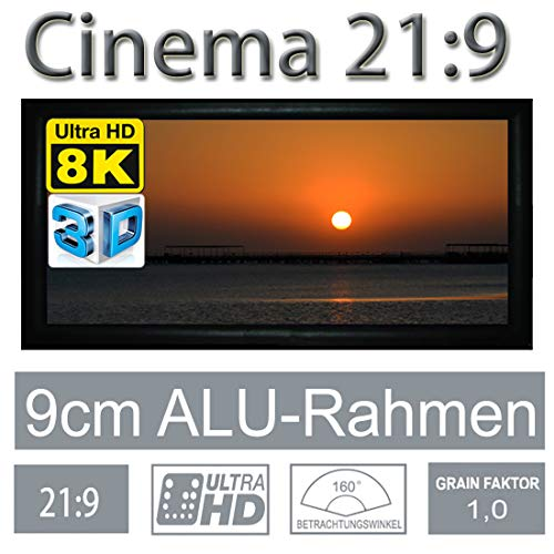 HiViLux Rahmenleinwand Gain 1,0 Weiss Tuch aus professionell Kinofolie/3D/4K/UHD/ALU Rahmen/Kein Glitzereffekt o.Hotspot (21:9 Bild:311x132cm 133