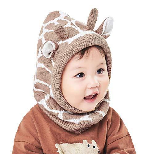Hawiton Baby Meisjes Jongens Warme Gebreide Muts Kinderen Winter Caps en Halsdoek Sjaal Set