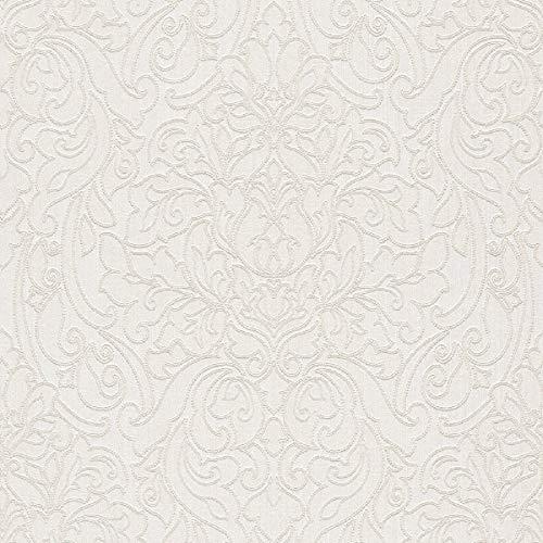 Casa Padrino Barock Textiltapete Weiß/Beige 10,05 x 0,53 m - Deko Accessoires